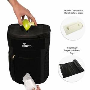 Premium Hanging Car Trash Can Includes 30 Disposable Garbage Bags Compression