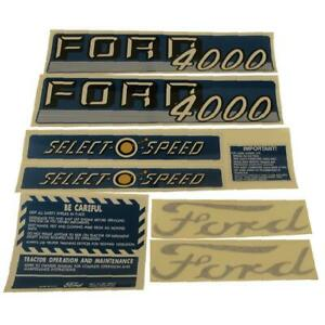 Complete Decal Set For Ford 4000 Tractor 4 Cyl 1962 1964 Select O Speed