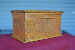 Vintage Antique Birdseye Maple Custom Handmade Tool Jewelry Trinket Sewing Box