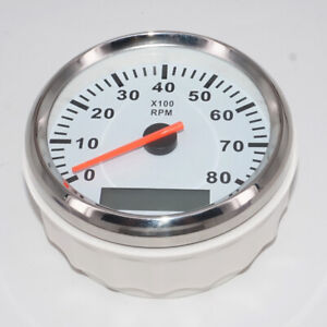 85mm 8000rpm Marine Tachometer Boat Yacht Outboard Engine Lcd Gauge Hourmeter