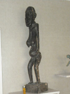 Nude African Wood Carved Woman Female Fertility Tribal Statue Figure Art