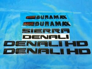 6pcs New 11 19 Gloss Black Gmc Sierra Denali Duramax 2500hd 3500hd Badges Emblem