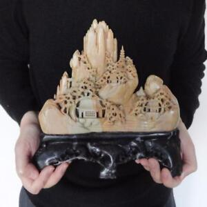 Magnificent Detailed Chinese Carved Soapstone Moutainscape Russet Celadon Color