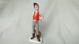 Hungarian Porcelain Woodsman Boy With Axe Figurine 6 1 2 Tall Hand Painted
