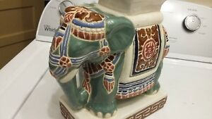 Antique Chinese Porcelain Elephant Figurine 10 Table Plant Stand Stool