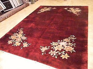 9x12 Chinese Rug Vintage Art Deco Nichols Authentic Hand Made Oriental Rug 1960s