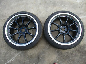 Jdm Rays Gram Lights 57g 18x9 5 Et 22 5x114 3 Rims Black Polished Lip Wheels