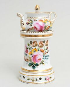 Antique French Veilleuse Tisaniere Teapot On Stand Painted By P Lambert 1830
