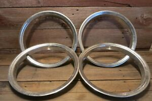 Vintage Stainless Ribbed Trim Rings Set Of 4 Wheel Hubcap Surround