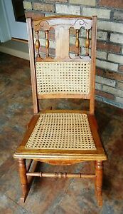 Antique Golden Oak Hand Carved Caned Nursing Sewing Rocker Orig Owner