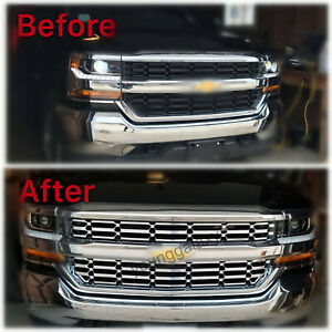 Grille Overlay Covers Inserts For 2016 18 Chevy Silverado 1500 Chrome Snap On