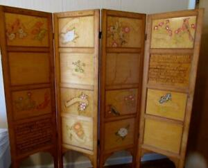 Vintage American Folk Art Wooden Screen Room Divider Hand Carved And Painted