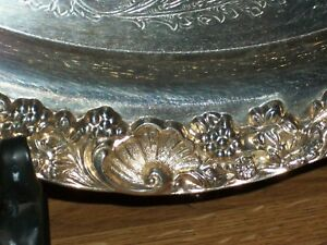 Gorgeous F B Rogers Silver 1883 Round Ornate 18 Serving Tray Flower Leaf Scroll