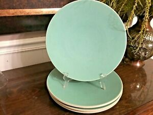 4 Vintage Mid Century Era Aqua Green Earthenware Dinner Plates