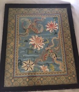 Antique Chinese Silk Embroidery Swatch Blue Flowers Butterfly Forbidden Stitch
