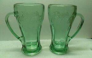 Set of 2 Libbey Thick Heavy Green Glass Coca Cola Mugs