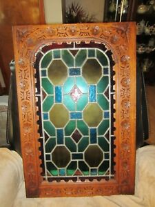 Vintage Carved Geometric Architectural Renaissance Stained Glass Door