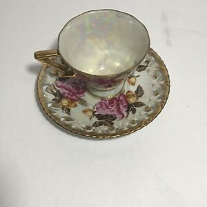 Vtg Royal Sealy China Pink Roses Tea Cup Reticulated Saucer Lustreware Japan