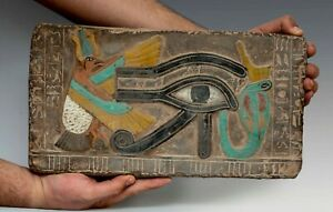 Ancient Egyptian Antique Eye Of Horus Plaque Stela Fragment Relief Stone Bce