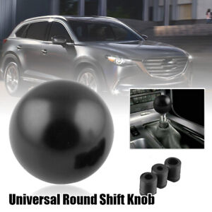 Gear Round Ball Shift Knob Manual Transmission With 3 Adapter Black Universal