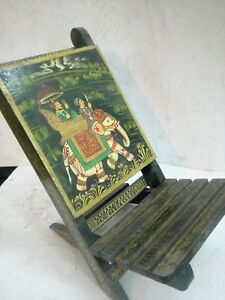Indian Wooden Chair Furniture Royal Elephant Painted Folding God Sitting Chair