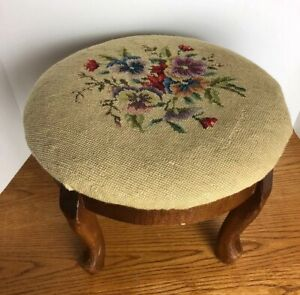 Antique Needlepoint Floral Foot Stool Round Wood Legs