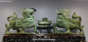 19 Natural Dushan Jade Dragon Foo Fu Dog Guardian Lion Yuanbao Statue Pair