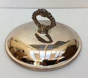 Vintage Silver Plate Pot Or Dish Lid Chafing Cover 7 3 8 Inner Diameter