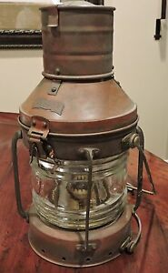 Large Vintage Brass Anchor Ship Oil Lantern Light Glass Chimney Single Wick Nice