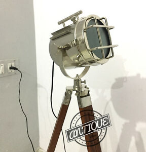 Corner Sofa Floor Lamp Stand With Wooden Tripod Vintage Marine Searchlight Model
