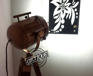 Copper Coating Brown Tripod Searchlight With Wooden Stand Marine Light House New
