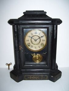 Vintage Old Wooden Mantle Clock Antique W Key Rare Pendulem Good Condition L K