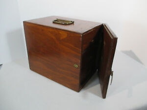 Primitive Wood Box Apothecary 3 Drawer Door Latch Brass Handle Candles Spices