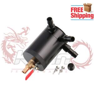 Bkoil Catch Can 3 Port Tank Compact Baffled With Drain Valve Air Oil Separtor
