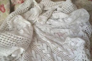 Antique French Finely Hand Knitted Cotton Bed Cover Matching Cushion Cover