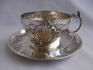 Antique French Sterling Silver Tea Cup Saucer Louis 15 Style Late 19th Century