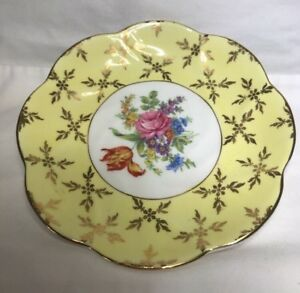 Imperial Bone China Tea Cup Saucer Yellow With Gold Trim Floral Made In England