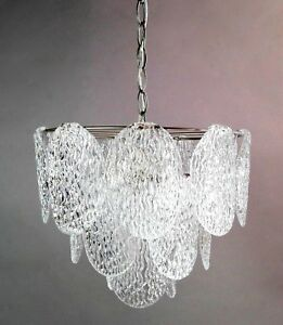 Vintage Murano Mazzega Vistosi Venini 70s Clear Glass Leaves Chandelier