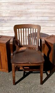 Antique Bankers Armchair Oak Wood Library Seat Milwaukee Chair Company 1920s