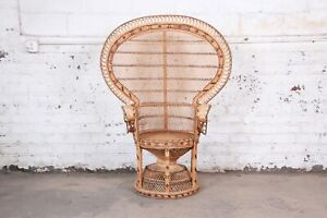 Iconic Bohemian Wicker Emanuelle Peacock Chair 1970s
