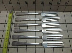 Japanese 950 Sterling Silver Set Of 6 Pastry Forks Arrow W Circle Hallmark