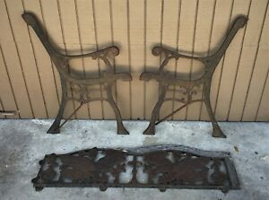 Rare Beautiful Vintage 3 Pc Decorative Cast Iron Garden Park Bench Ends Eagle S
