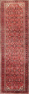 4x12 Hossainabad Persian Wool Hand Knotted Geometric Oriental Runner Rug Red