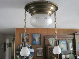 Vintage Antique Victorian Art Deco Chain Pendent Shade Chandelier Light Fixture