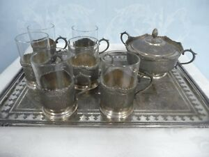 Antique Persian 84 Silver Tea Set Tray W 6 Glass Holders Glasses