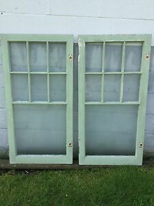 2 Shabby Chippy Antique 7 Pane Old Flat Glass Paint Wood Mullion Casementwindow