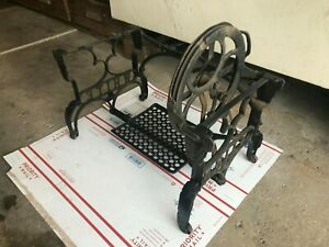 Rare Old Antique White Low Treadle Sewing Machine Cast Iron Table Base Pickup