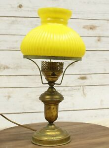 Antique Brass Student Desk Lamp W Yellow Ribbed Glass Shade