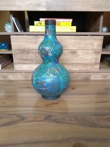 39cms 15 3inches Chinese Double Gourd Cloisonne Vase 19th C Marked