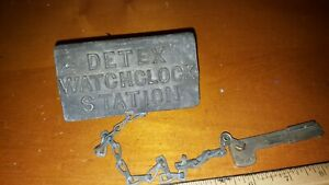 Vintage Detex Watchclock Station Box Case With Key And Chain Key 2